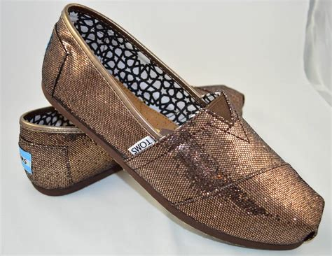 bronze flats shoes toms s bronze glitter shoes classics slip ons flats