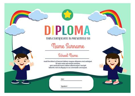 Kindergarten Diploma Template by Kindergarten Diploma Template Vector Free