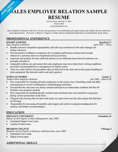 Resume Sles And Tips Sales Employee Relation Resume Resume Tips Resume Exles And Resume