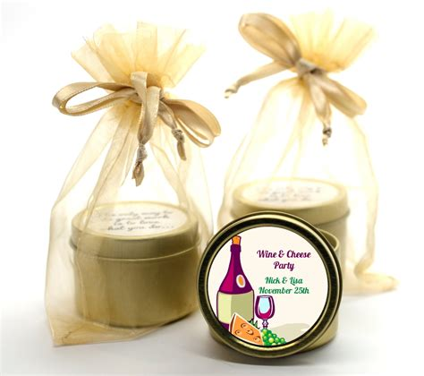 wine cheese bridal shower favors wine cheese gold tin candle favors candles favors