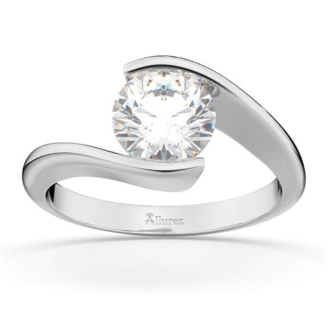 Tension Engagement Rings by Tension Set Swirl Solitaire Engagement Ring Setting 18k