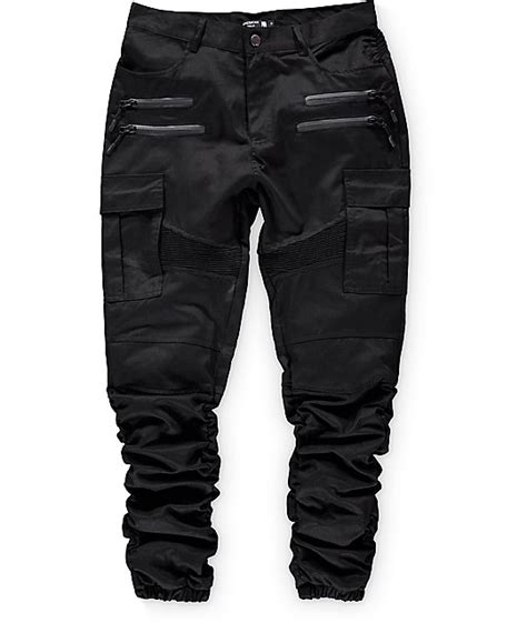cargo jogger black by manly foster american stitch black twill cargo bungee jogger zumiez