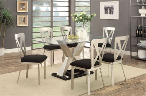 Kera Silver And Black Dining Room Set Cm3725t Table Black And Silver Dining Room Set