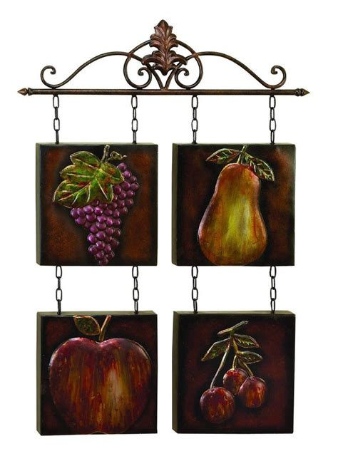 Metal Kitchen Decor by Pear Grapes Cherry Apple Fruit Metal Tile Wall Fleur