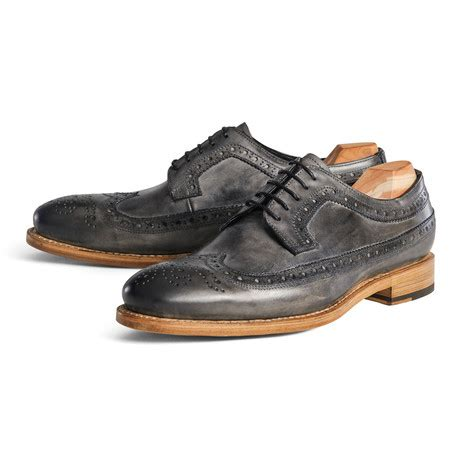Handmade Brogues Uk - wing brogue distressed grey uk 6 5 handmade