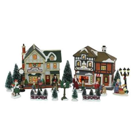 home accents holiday lighted christmas village set 20