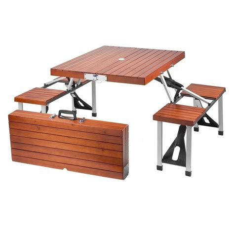portable picnic bench leisure season portable patio folding picnic table pft12 the home depot