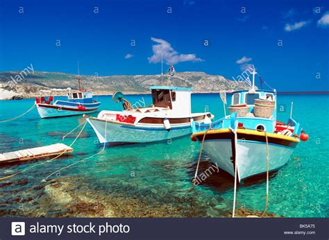 greek boat fishing boats at anopi beach karpathos dodecanese greek