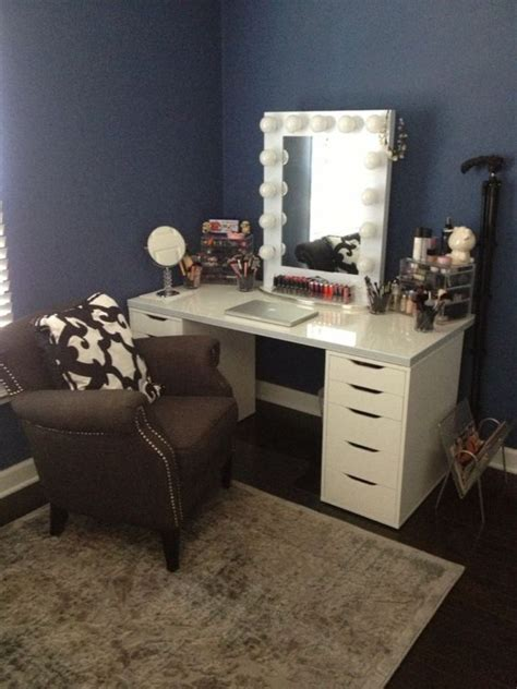 Bedroom Makeup Vanity Vanity Makeup Set With Lights Table And For Bedroom Interalle