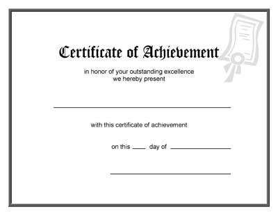 blank certificate of achievement template blank certificates of completion