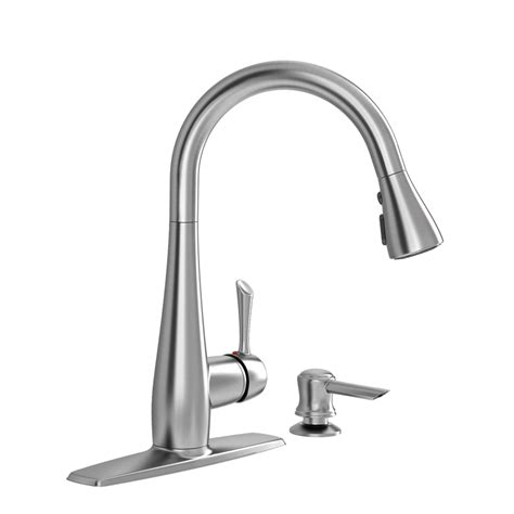 american kitchens faucet shop american standard olvera stainless steel 1 handle pull kitchen faucet at lowes