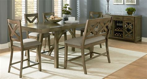 omaha dining room set w upholstered bench grey formal omaha counter height dining set w x back bench grey