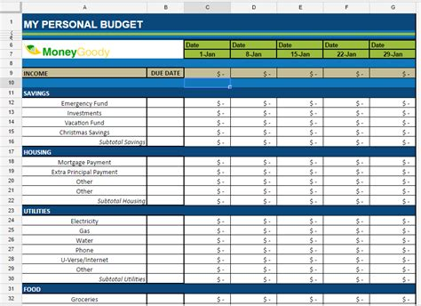 money budget template free monthly budget spreadsheet money goody