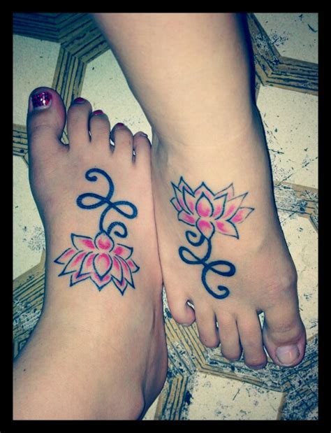 tattoo flower sister matching lotus flower tattoos with my sister tattoos