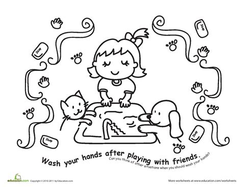 coloring pages good hand washing coloring pages