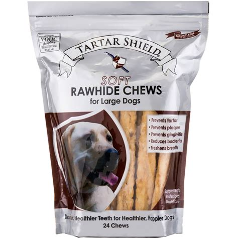 rawhide bones for dogs tartar shield soft rawhide chews for large dogs 24 count