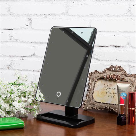 portable mirror with lights portable makeup mirror 20 led lighted touch screen beauty