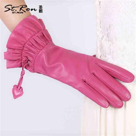 ladies hot pink leather gloves online buy wholesale pink leather gloves from china pink