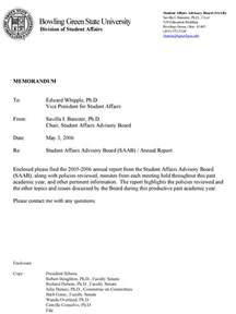 Financial Report Letter Student Affairs Advisory Board