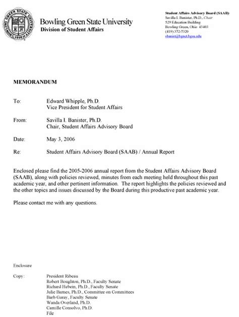 Annual Report Cover Letter student affairs advisory board