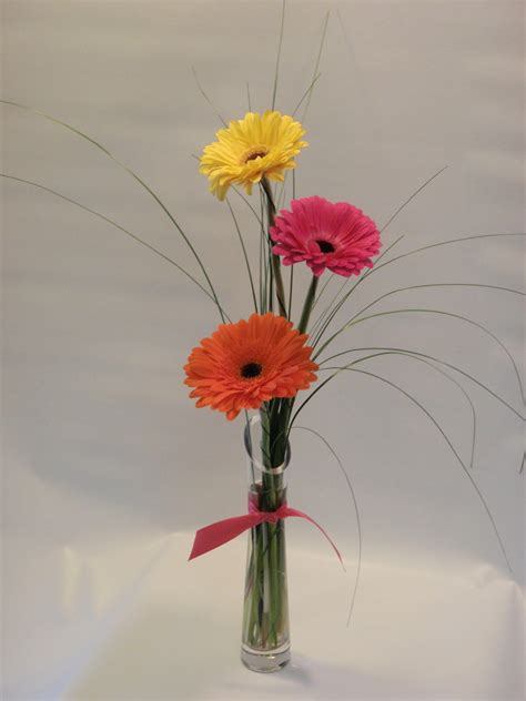 bright colored bright colored gerbera daisies in a bud vase with