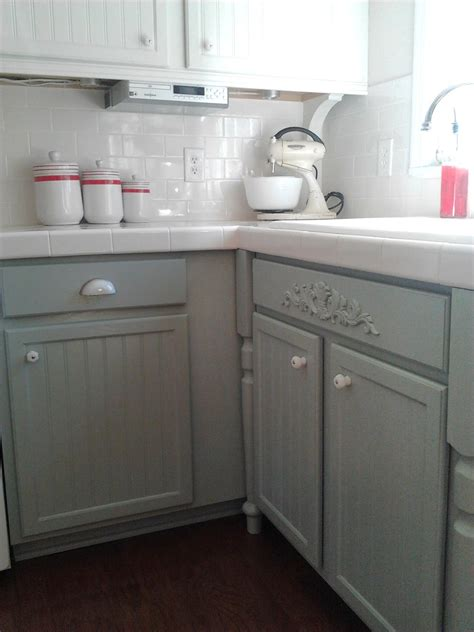painted oak kitchen cabinets gray and white kitchen makeover with hexagon tile