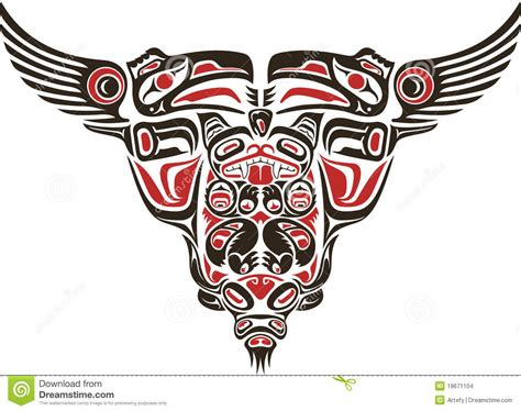 haida style tattoo design stock vector image of bull
