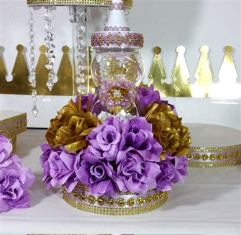 girls princess baby shower centerpiece with lavender gold