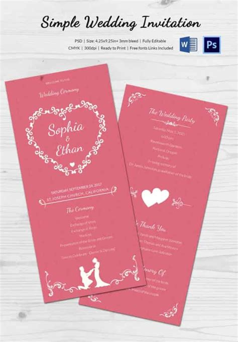 easy card templates wedding invitation template 71 free printable word pdf
