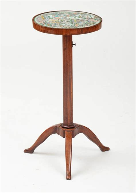 Tripod Di Bec A Directoire Walnut Tripod Candlestand With Famille Verte Porcelain Top Le