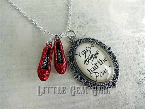 ruby slippers quote wizard of oz necklace ruby slippers oz quote necklace