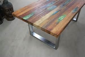 zu tisch in tisch aus recyceltem holz der tischonkel