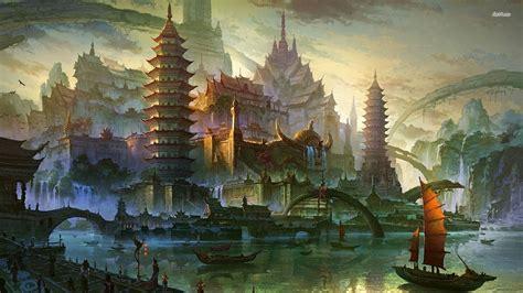 golden village wallpaper ancient chinese marina wallpaper