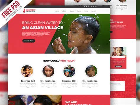 Non Profit Organization Website Template Free Psd Psdfreebies Com Non Profit Websites Templates