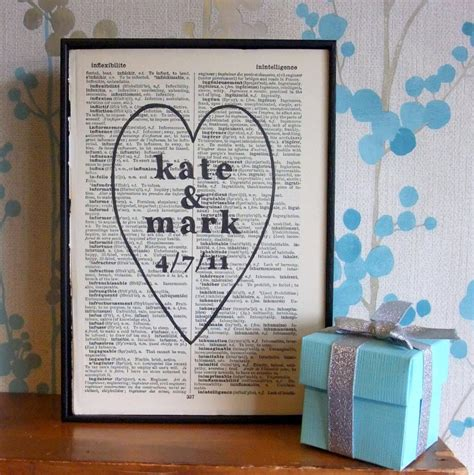 personalized wedding gift names and date on vintage book page on luulla