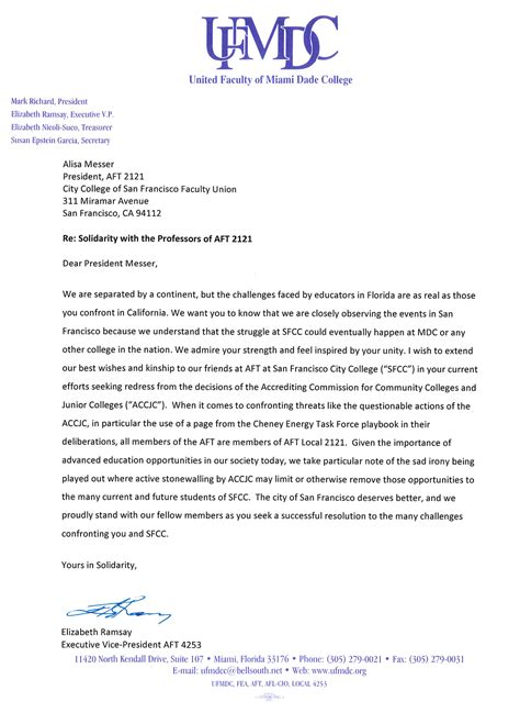 Support Letter Professor united faculty of miami dade college solidarity letter