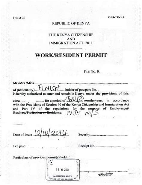 Application Letter Kenyatta 01 Class F Work Permit