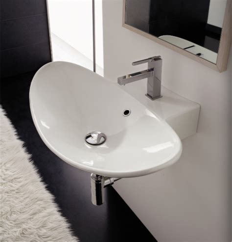 Modern Wall Mount Bathroom Sinks Modern Saucer Shaped Wall Mounted Or Vessel Sink By