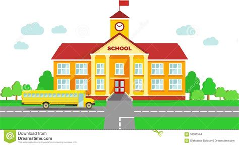 S Drawing Elementary School by Panoramic Background With School Building And School