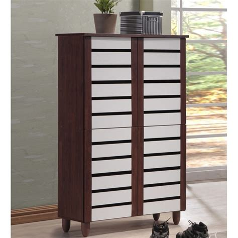Entry Cabinet With Doors Shoe Storage Solutions Front Entry Cabinet 6 Shelves 4 Doors Wood Oak White Ebay