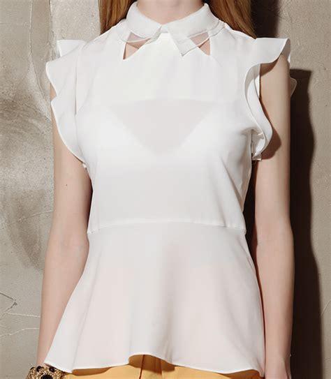 Angelic Top Black Blouse storets collar insert angelic peplum blouse kstylick