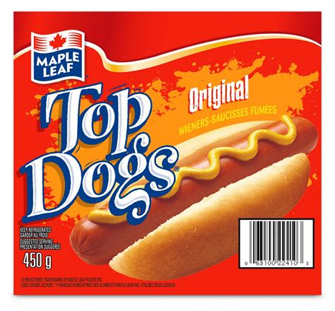 top dogs maple leaf 174 top dogs 174 original wieners maple leaf foods