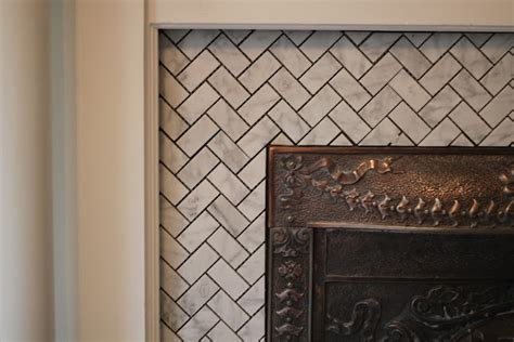 Fireplace Tile Grout herringbone tile with grout the touches make