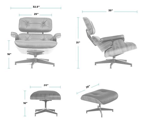 Eames Lounge Chair Dimensions by Eames Chair Replica 100 Leather High Quality