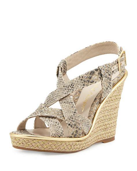 jean michel cazabat women s andrea snakeskin wedge sandal