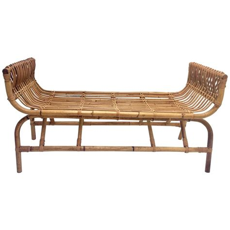 rattan benches vintage ficks reed rattan curved long bench at 1stdibs