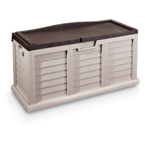 patio bench storage outdoor storage box bench 126364 patio storage at sportsman s guide