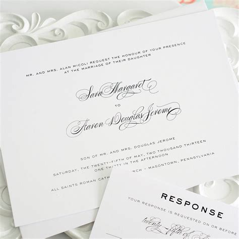wedding invitations with a timeless script font wedding invitations