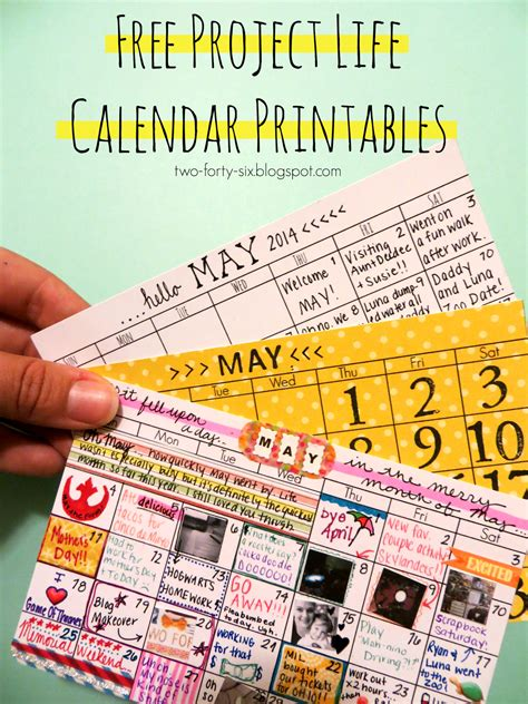 project life printable planner two forty six project life calendar printables
