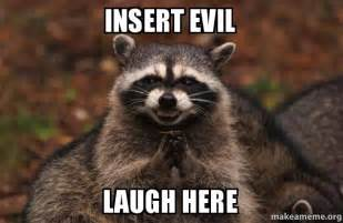 Evil Face Meme - insert evil laugh here evil plotting raccoon make a meme